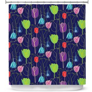 Premium Shower Curtains | Yasmin Dadabhoy - Tulips Navy Multi | flower floral pattern