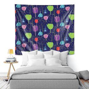 Artistic Wall Tapestry   Yasmin Dadabhoy - Tulips Navy Multi   flower floral pattern