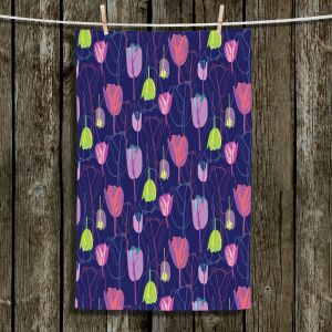 Unique Hanging Tea Towels | Yasmin Dadabhoy - Tulips Navy Pink | flower floral pattern