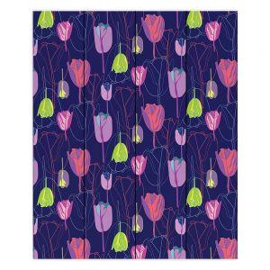 Decorative Wood Plank Wall Art   Yasmin Dadabhoy - Tulips Navy Pink   flower floral pattern
