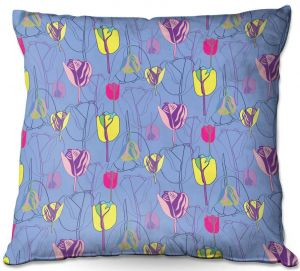 Throw Pillows Decorative Artistic | Yasmin Dadabhoy - Tulips Periwinkle Pink | flower floral pattern