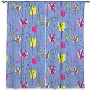 Decorative Window Treatments | Yasmin Dadabhoy - Tulips Periwinkle Pink | flower floral pattern