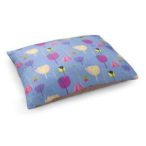 Decorative Dog Pet Beds | Yasmin Dadabhoy - Tulips Periwinkle Purple | flower floral pattern