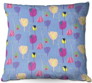 Throw Pillows Decorative Artistic | Yasmin Dadabhoy - Tulips Periwinkle Purple | flower floral pattern