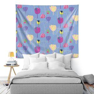 Artistic Wall Tapestry | Yasmin Dadabhoy - Tulips Periwinkle Purple | flower floral pattern