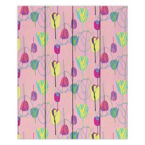 Decorative Wood Plank Wall Art | Yasmin Dadabhoy - Tulips Pink Green | flower floral pattern