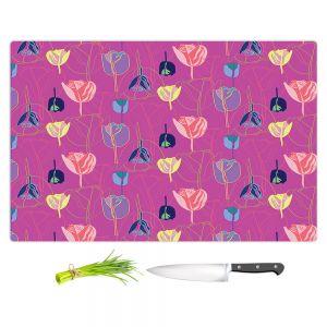 Artistic Kitchen Bar Cutting Boards | Yasmin Dadabhoy - Tulips Pink Yellow | flower floral pattern