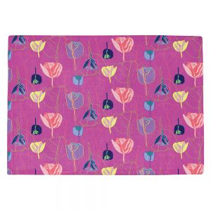 Countertop Place Mats | Yasmin Dadabhoy - Tulips Pink Yellow | flower floral pattern