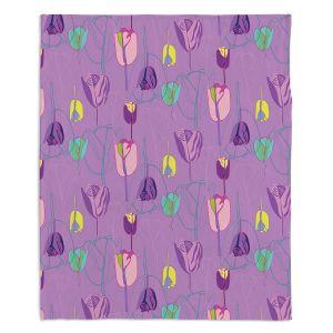 Decorative Fleece Throw Blankets | Yasmin Dadabhoy - Tulips Purple Pink | flower floral pattern
