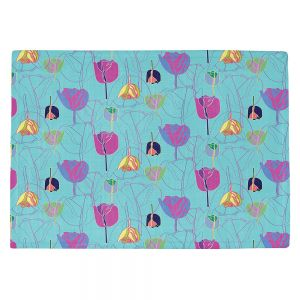 Countertop Place Mats | Yasmin Dadabhoy - Tulips Teal Purple | flower floral pattern