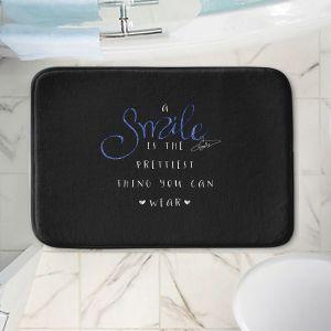 Decorative Bathroom Mats | Zara Martina - A Smile Blue Sparkle Black | Inspiring Typography Lady Like