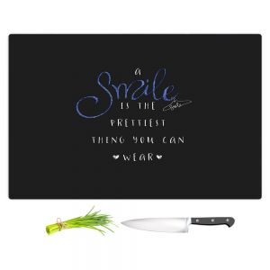 Artistic Kitchen Bar Cutting Boards | Zara Martina - A Smile Blue Sparkle Black | Inspiring Typography Lady Like
