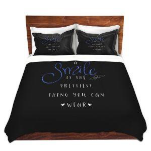Artistic Duvet Covers and Shams Bedding | Zara Martina - A Smile Blue Sparkle Black | Inspiring Typography Lady Like