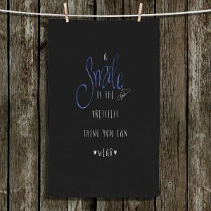Unique Hanging Tea Towels | Zara Martina - A Smile Blue Sparkle Black | Inspiring Typography Lady Like