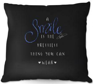 Throw Pillows Decorative Artistic | Zara Martina - A Smile Blue Sparkle Black | Inspiring Typography Lady Like