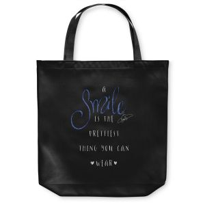 Unique Shoulder Bag Tote Bags | Zara Martina - A Smile Blue Sparkle Black | Inspiring Typography Lady Like