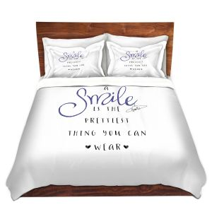 Artistic Duvet Covers and Shams Bedding | Zara Martina - A Smile Blue Sparkle | Inspiring Typography Lady Like
