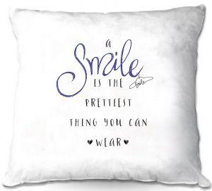 Decorative Outdoor Patio Pillow Cushion   Zara Martina - A Smile Blue Sparkle   Inspiring Typography Lady Like