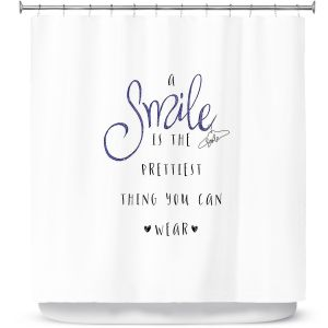 Premium Shower Curtains | Zara Martina - A Smile Blue Sparkle | Inspiring Typography Lady Like
