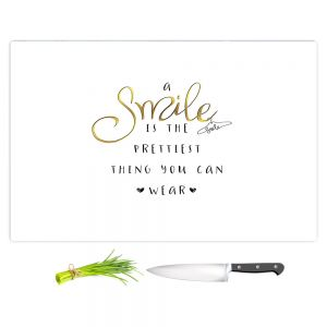 Artistic Kitchen Bar Cutting Boards | Zara Martina - A Smile Gold | Inspiring Typography Lady Like