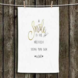 Unique Hanging Tea Towels | Zara Martina - A Smile Gold | Inspiring Typography Lady Like