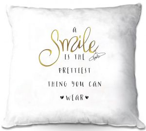 Decorative Outdoor Patio Pillow Cushion | Zara Martina - A Smile Gold | Inspiring Typography Lady Like
