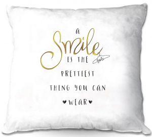 Decorative Outdoor Patio Pillow Cushion   Zara Martina - A Smile Gold   Inspiring Typography Lady Like