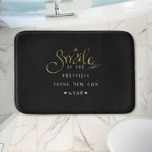Decorative Bathroom Mats | Zara Martina - A Smile Gold Sparkle Black | Inspiring Typography Lady Like