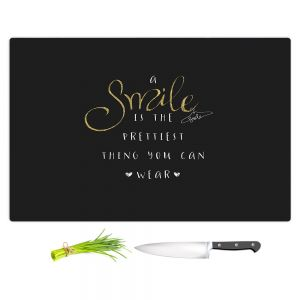 Artistic Kitchen Bar Cutting Boards | Zara Martina - A Smile Gold Sparkle Black | Inspiring Typography Lady Like