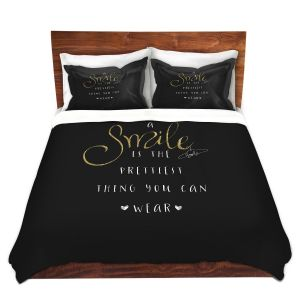 Artistic Duvet Covers and Shams Bedding   Zara Martina - A Smile Gold Sparkle Black   Inspiring Typography Lady Like