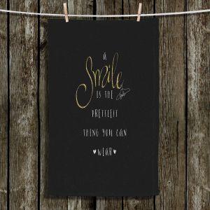 Unique Hanging Tea Towels | Zara Martina - A Smile Gold Sparkle Black | Inspiring Typography Lady Like