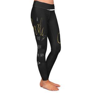 Casual Comfortable Leggings | Zara Martina - A Smile Gold Sparkle Black | Inspiring Typography Lady Like