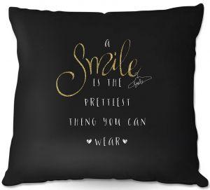 Decorative Outdoor Patio Pillow Cushion | Zara Martina - A Smile Gold Sparkle Black | Inspiring Typography Lady Like