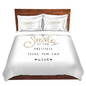 Artistic Duvet Covers and Shams Bedding   Zara Martina - A Smile Gold Sparkle   Inspiring Typography Lady Like