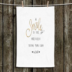 Unique Hanging Tea Towels | Zara Martina - A Smile Gold Sparkle | Inspiring Typography Lady Like