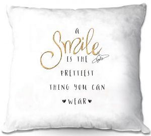 Decorative Outdoor Patio Pillow Cushion | Zara Martina - A Smile Gold Sparkle | Inspiring Typography Lady Like