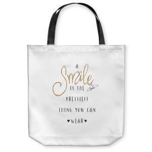 Unique Shoulder Bag Tote Bags | Zara Martina - A Smile Gold Sparkle | Inspiring Typography Lady Like