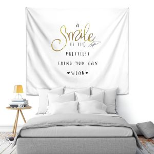 Artistic Wall Tapestry | Zara Martina - A Smile Gold | Inspiring Typography Lady Like