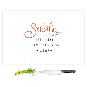 Artistic Kitchen Bar Cutting Boards | Zara Martina - A Smile Orange | Inspiring Typography Lady Like
