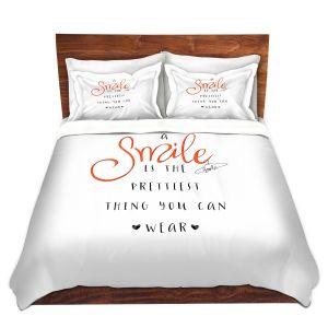 Artistic Duvet Covers and Shams Bedding | Zara Martina - A Smile Orange | Inspiring Typography Lady Like