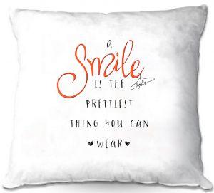 Decorative Outdoor Patio Pillow Cushion   Zara Martina - A Smile Orange   Inspiring Typography Lady Like