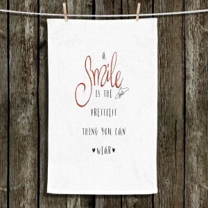 Unique Hanging Tea Towels | Zara Martina - A Smile Orange Sparkle | Inspiring Typography Lady Like