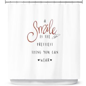 Premium Shower Curtains | Zara Martina - A Smile Orange Sparkle | Inspiring Typography Lady Like