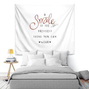 Artistic Wall Tapestry   Zara Martina - A Smile Orange Sparkle   Inspiring Typography Lady Like