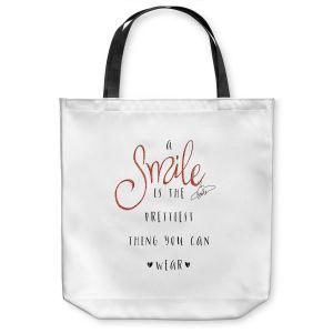 Unique Shoulder Bag Tote Bags | Zara Martina - A Smile Orange Sparkle | Inspiring Typography Lady Like