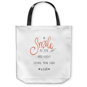 Unique Shoulder Bag Tote Bags | Zara Martina - A Smile Orange | Inspiring Typography Lady Like