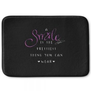Decorative Bathroom Mats | Zara Martina - A Smile Pink Sparkle Black | Inspiring Typography Lady Like