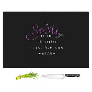 Artistic Kitchen Bar Cutting Boards | Zara Martina - A Smile Pink Sparkle Black | Inspiring Typography Lady Like
