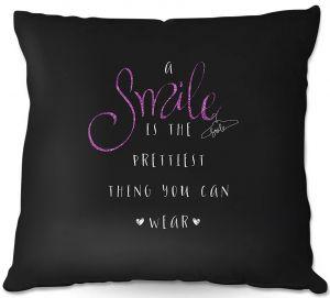 Decorative Outdoor Patio Pillow Cushion | Zara Martina - A Smile Pink Sparkle Black | Inspiring Typography Lady Like