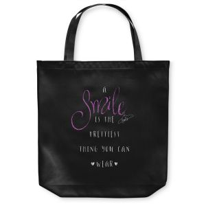 Unique Shoulder Bag Tote Bags | Zara Martina - A Smile Pink Sparkle Black | Inspiring Typography Lady Like